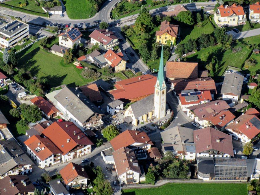 Aerial view of the Catholic Church in Mutters, Austria