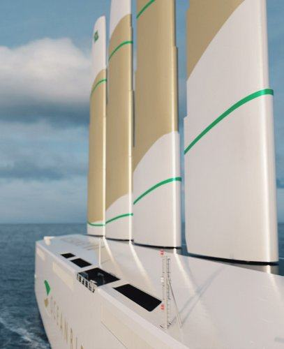 Close up of Oceanbird's top deck and sails