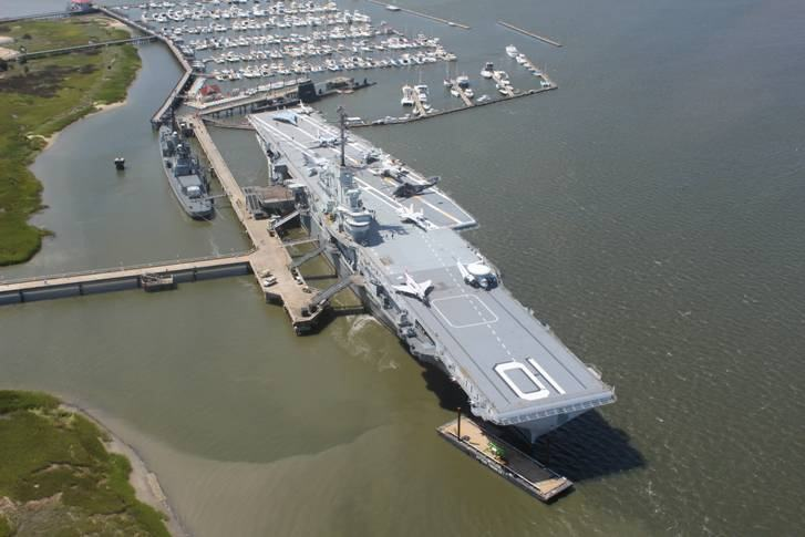 Aerial view of the ships at Patriots Point