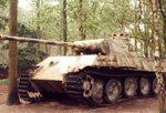 A brown & green camouflage German Panther tank in the woods disabled with a loose track.