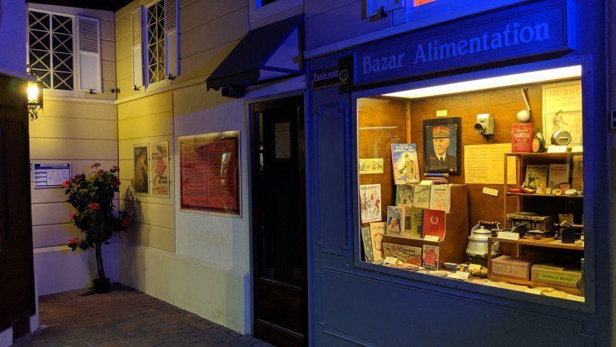 Mock up of a wartime Parisien general goods/newsagent shop