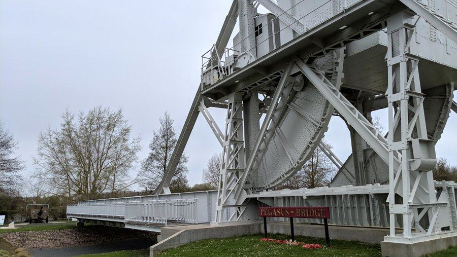 Closer view of the counterweight end of Pegasus bridge