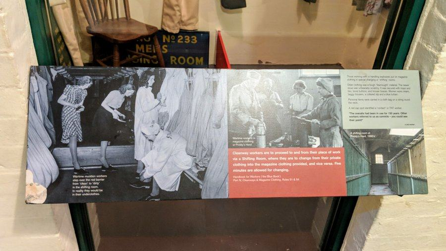 Museum signage with a black & white photograph of women workers stepping over a board into their clean area shoes