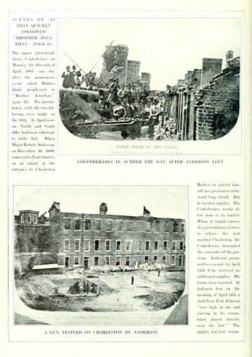 Two black & white images on a book page of soldiers standing in rubble