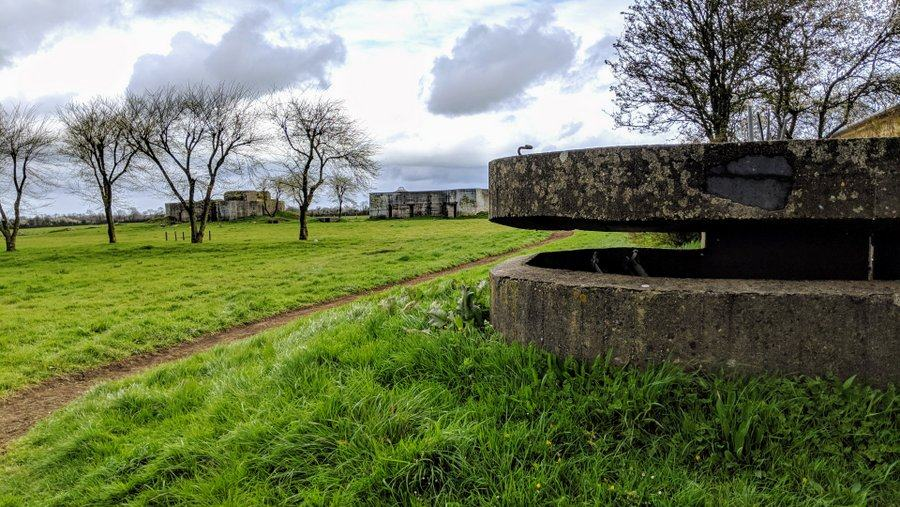 A concrete pillbox with a slot. Behind it grass, trees, and two of the concrete casements