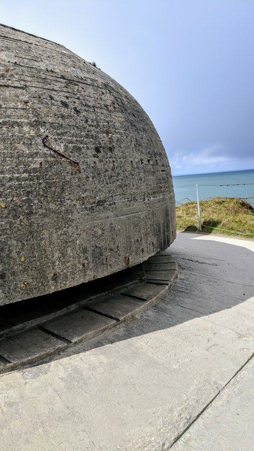 Large concrete dome shaped bunker with a viewing slit