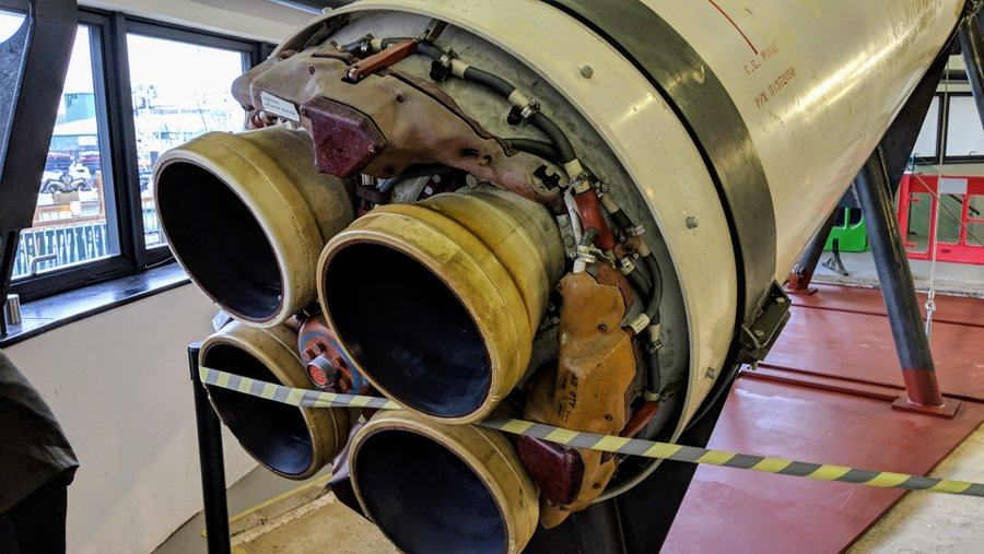 Four rocket nozzles on the base of a Polaris missile