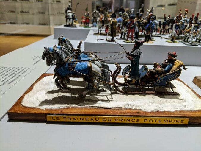 Model of a horse drawn sleigh