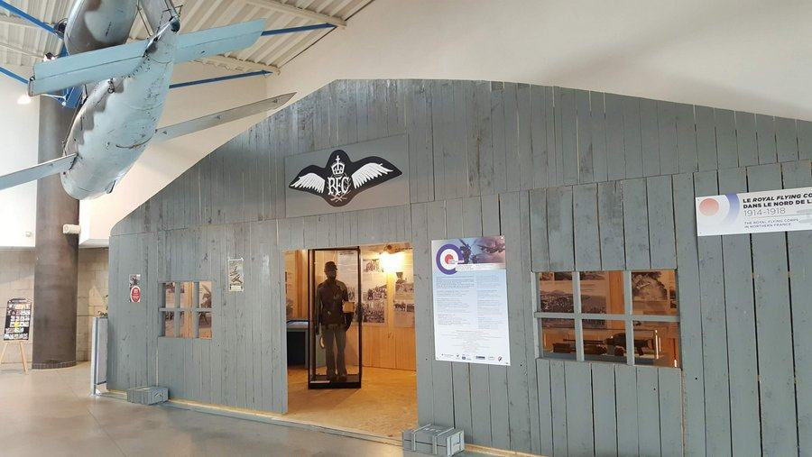 Recreation of an RAF hut with exhibits inside
