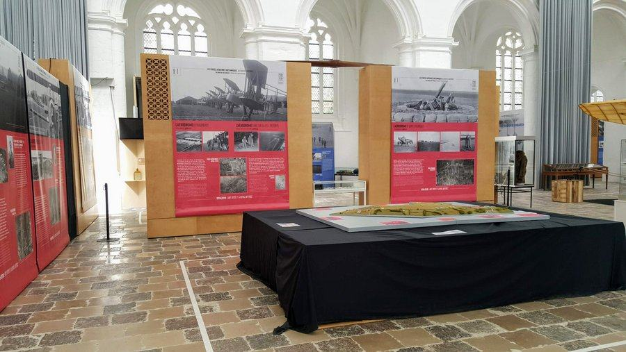 A 3d map of the main airfield outside St. Omer in the RAF in St Omer 100th anniversary exhibition