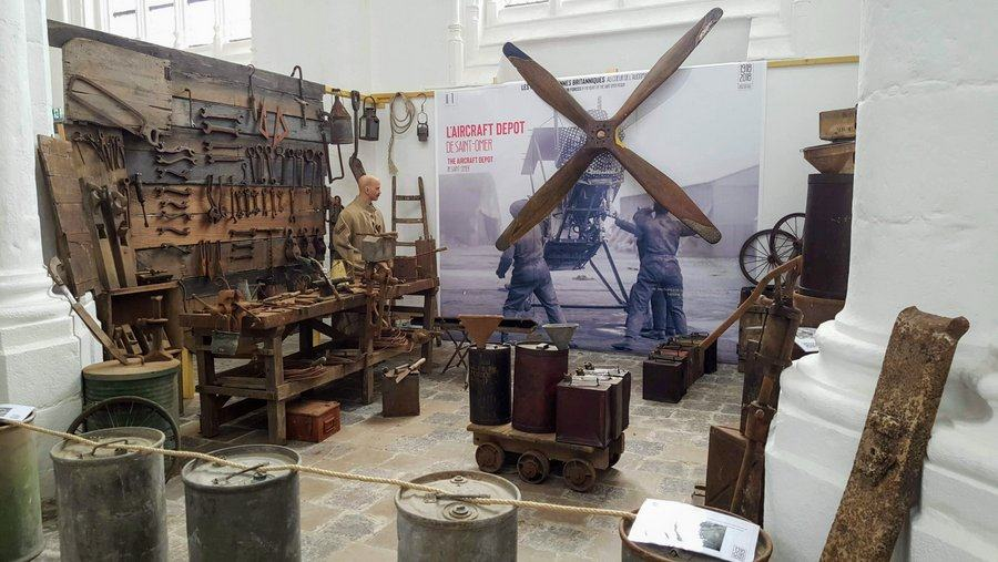 Recreation of an airfield maintenance workshop in the 'RAF in St Omer' 100th anniversary exhibition