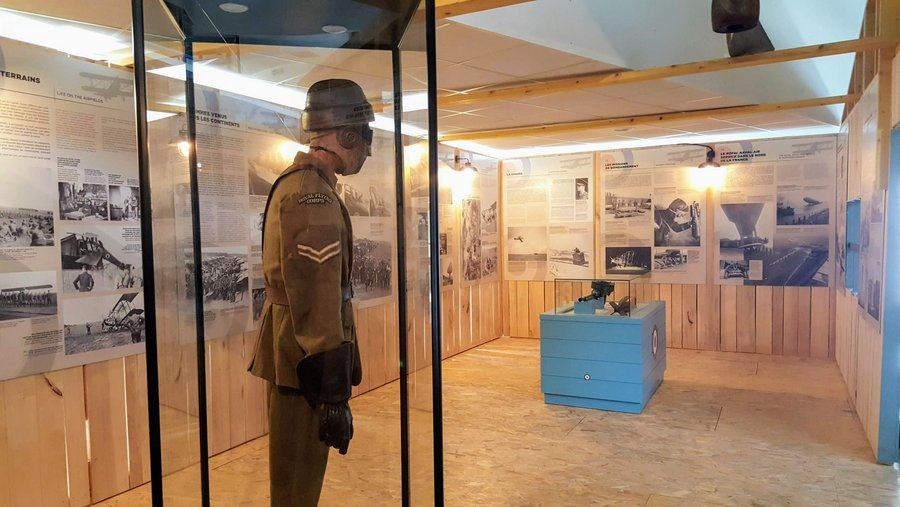 Display stands and photo panels in the RAF100 exhibition