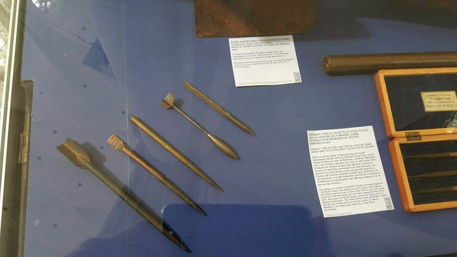 Close up of a set of flechette anti-personnel weapons in the 'RAF in St Omer' 100th anniversary exhibition