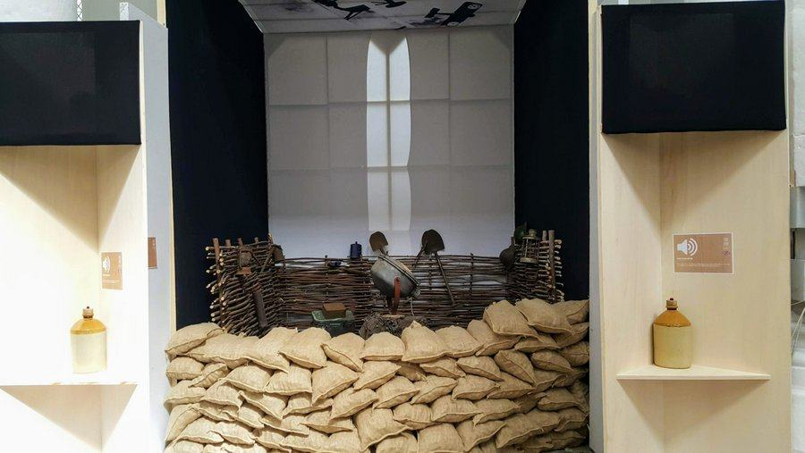 A recreation of a sandbagged anti-aircraft searchlight position in the 'St. Omer & the RAF' exhibition