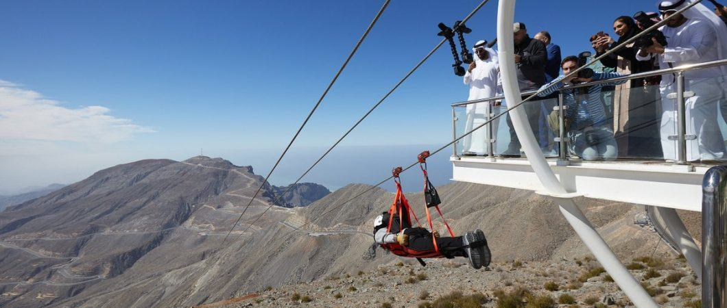 Rider setting off on the Jebel Jais Flight zipline in Ras al Khaimah