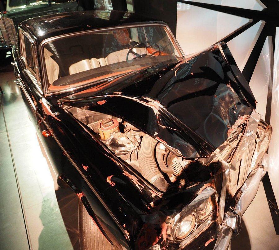 Crumpled Rolls Royce Silver Shadow car in Riga Motor Museum