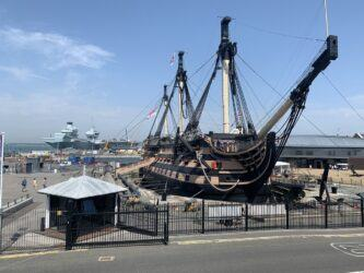HMS Victory from her starboard bow on a sunny day