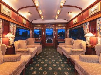 Sofas adorn a luxury train carriage