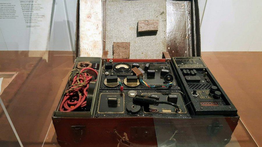Old fashioned radio in a suitcase