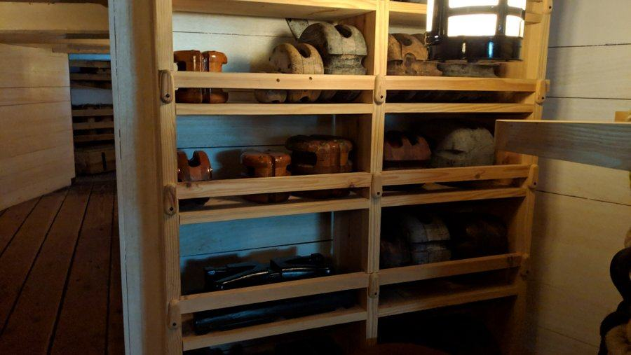 Shelves with large wooden blocks