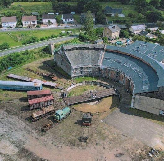 Aerial view of the railway roundhouse