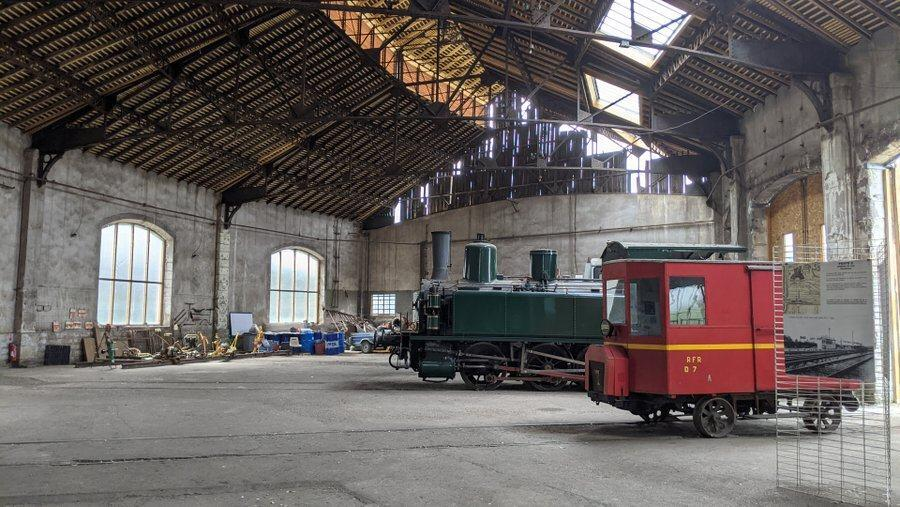 Trains parked inside the roundhouse at Montabon