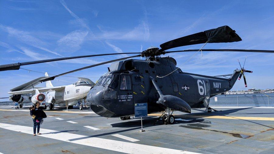 Large helicopter on the flight deck