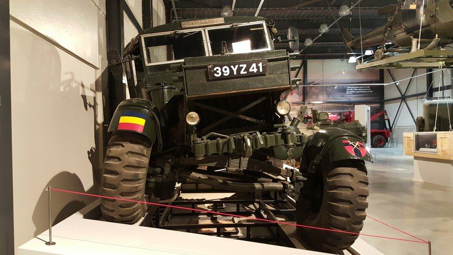 Front suspension of Scammell truck twisted as if on rough terrain