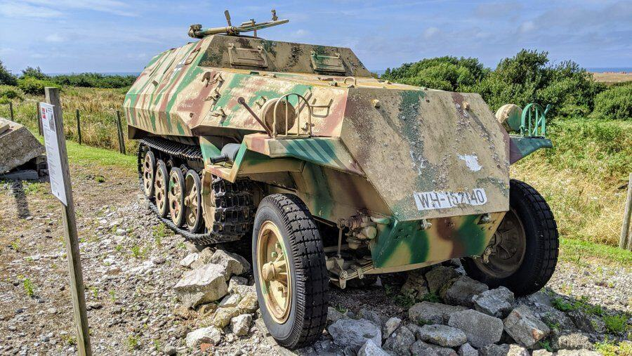 Armoured car camouflaged in sand brown & green