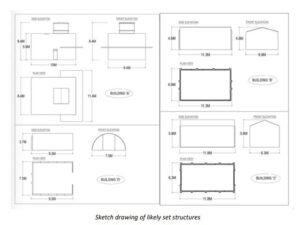 Technical drawings of some buildings to be used on the set