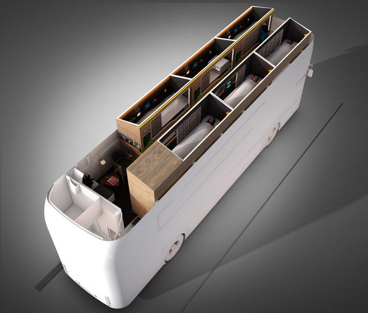 Design cutaway of Simba Snoozeliner top deck layout