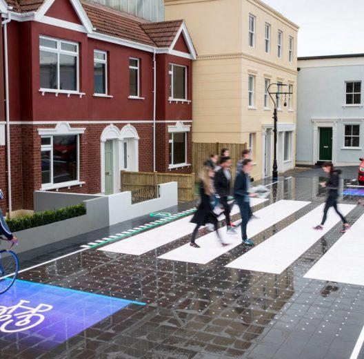 Pedestrians on a smart crossing