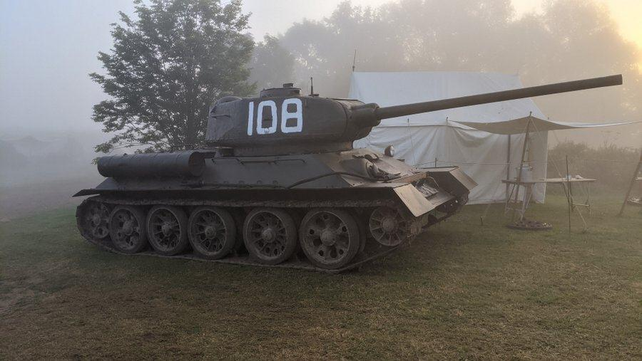 Russian T34 tank in the early morning mist at We Have Ways Fest