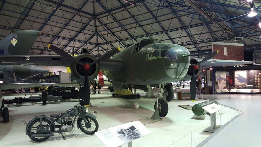 Green painted twin-engined American bomber