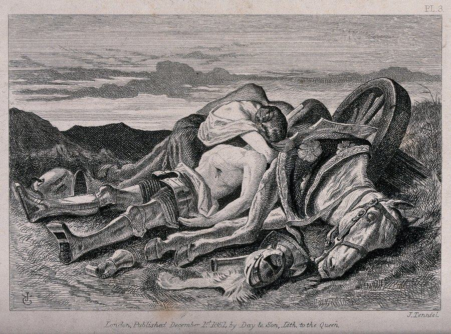 Black & white etching of a young woman clinging to her dead knight lying in a battlefield