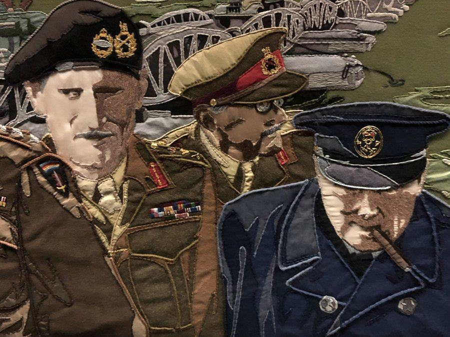 Tapestry panel featuring General Montgomery and Prime Minister Churchill