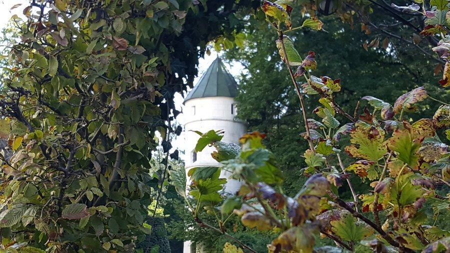 Close up view of the garden tower at Schloss Ambras, through an archway in a hedge