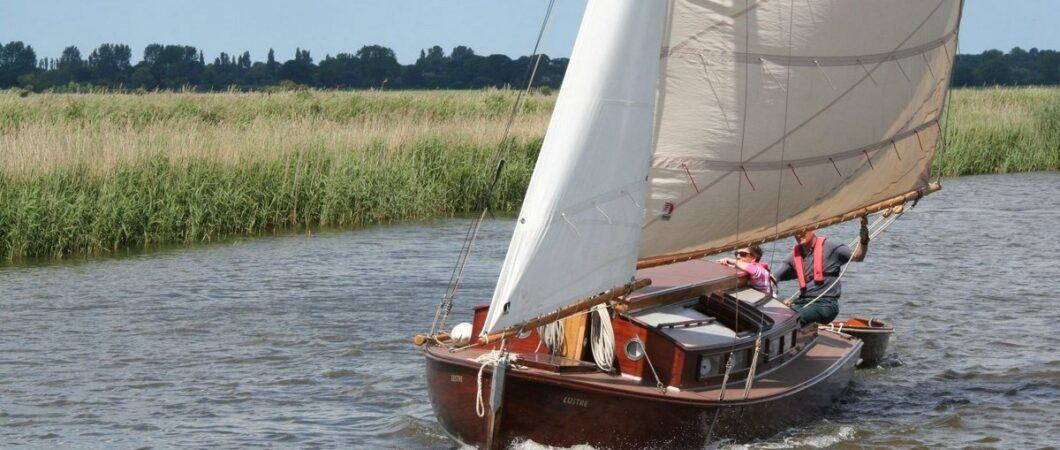 Traditional sailboat on the Norfolk Broads