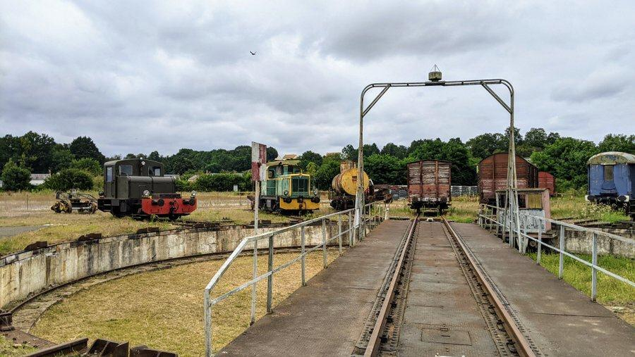 View of the roundhouse trains by the turntable