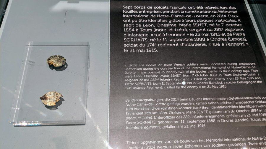 Two small and decayed dogtags in a display casein