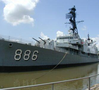 The destroyer, USS Orleck museum ship coming alongside