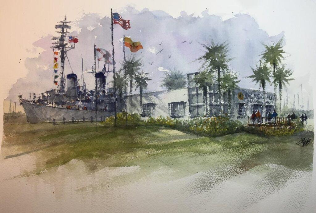 an artist's drawing of the Jacksonville Naval Museum ticketing & entrance building with USS Orleck behind.