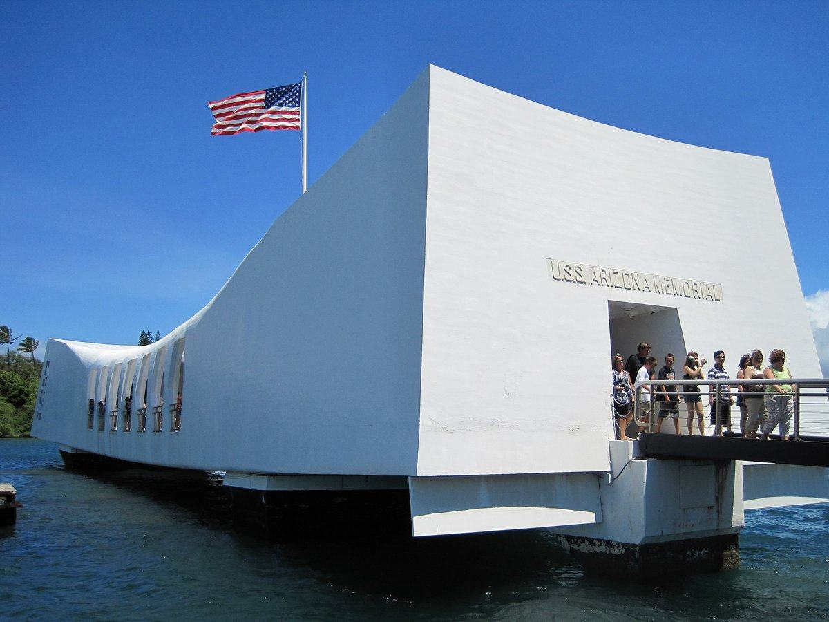 Close up of USS Arizona Memorial with visitors entering