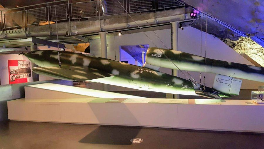 Lifesize V1 flying bomb on a stand