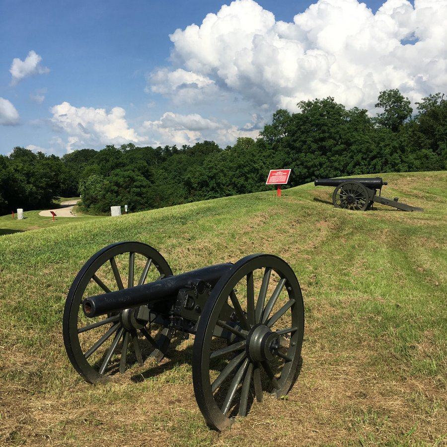 Two cannon on a grassy hill