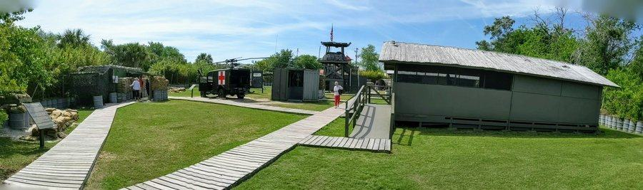 Replica Vietnam war base with duckboards and huts