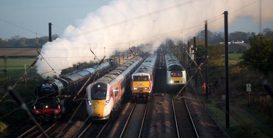 Four trains on four tracks