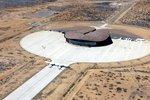 Aerial view of spaceport in the desert