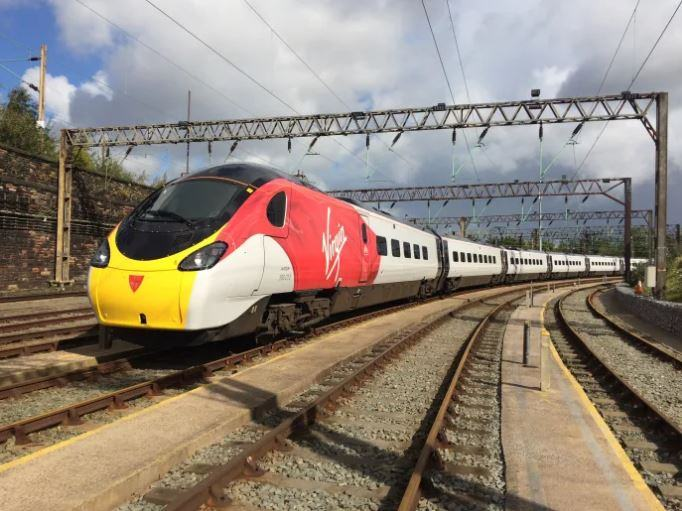 High speed Virgin train approaching on the mainline