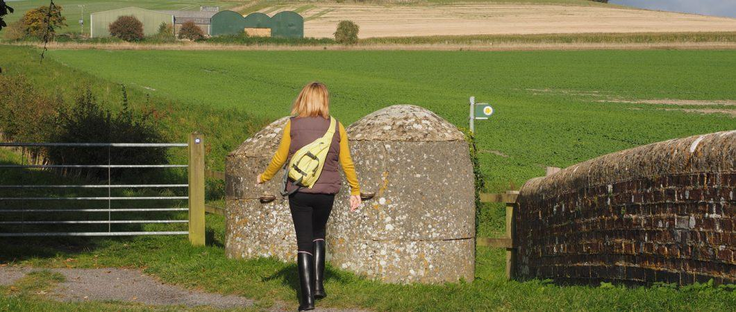 Woman walks toward WW2 anti-tank obstacles in Wiltshire field